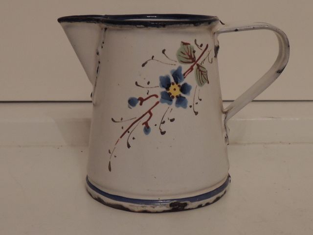 Vintage French Child's Enamelware Creamer Pitcher Hand Painted Enamel