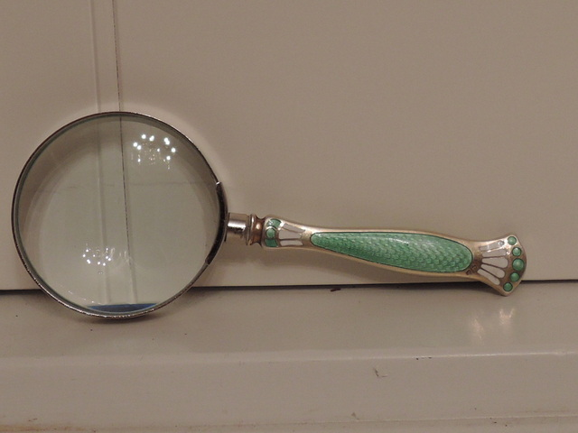 English Sterling Silver & Green Enamel Guilloche Handle Magnifying Glass 1926