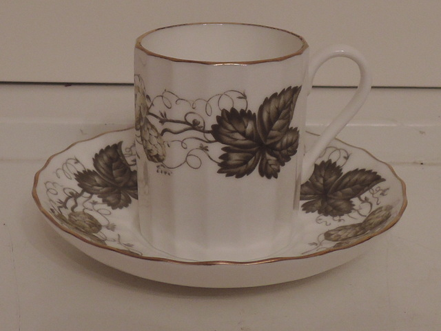 Vintage Royal Worcester Hop Mathon Green Leaf Demitasse Cup & Saucer Fine Bone