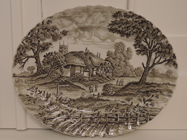 "Vintage Royal Essex Shakespeares Country Ironstone Brown Transferware 12"" Platter"