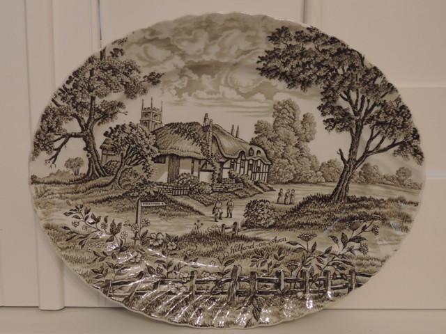 "Vintage Royal Essex Shakespeares Country Ironstone Brown Transferware 12"" Platter"