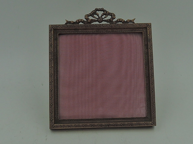 """Antique French Gilt Bronze Ormolu Photo Frame 2.5"""" x 2.5"""" Picture Bow & Ribbon"""
