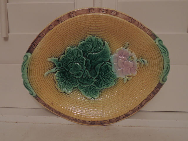 Antique Majolica Bread Platter Geraniums Eat Thy Bread With Thankfulness 1880's