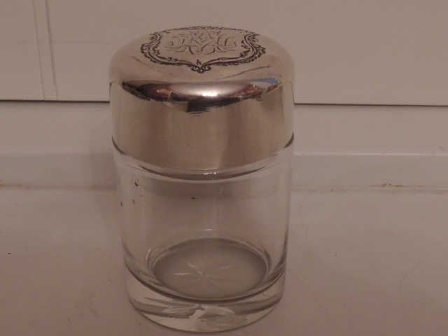 Vintage Sterling Silver Lid & Star Cut Glass Large Perfume Bottle Jar w/Dabber
