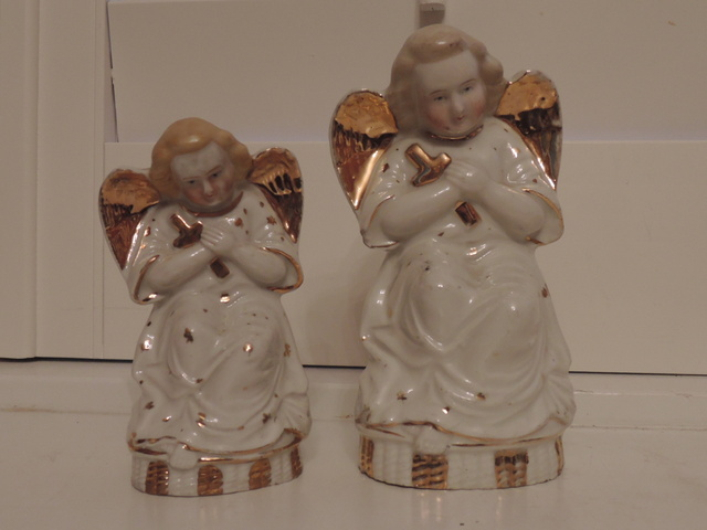 Vintage German Pair of Gilt Ceramic Angels Figurines Religious Statues