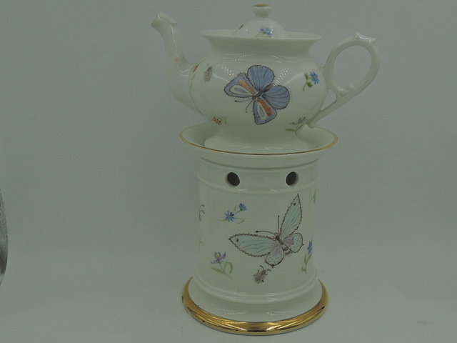 Vintage French Hand Painted Porcelain Teapot & Warmer Set Butterflies