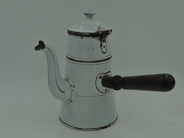 Antique French Enamel Teapot Hot Chocolate Coffee Pot 1920's Enamelware