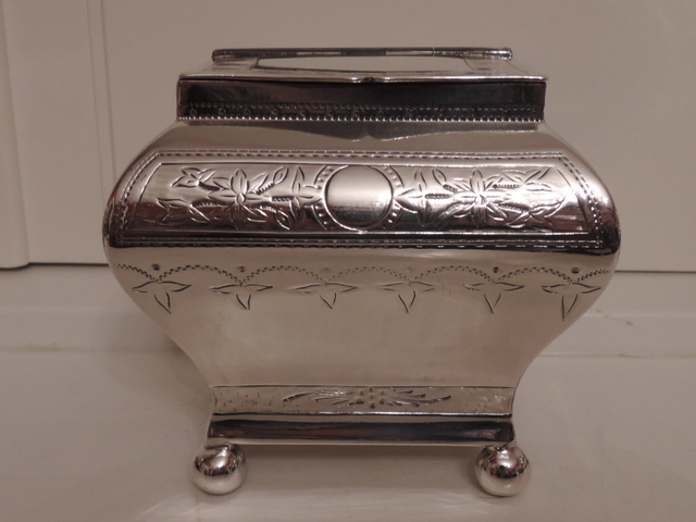 Antique 19th C. Georgian Style Silverplate Tea Caddy Box W.B. & Co. Silver Plate
