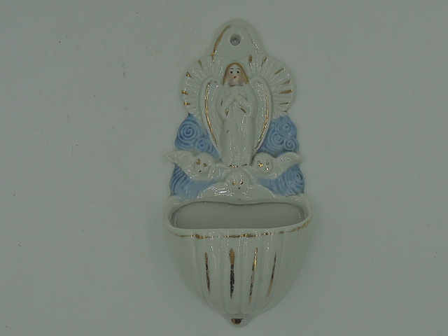 Very Sweet Antique French Angel Holy Water Font Angels