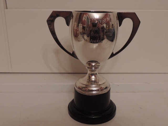 Vintage English EPNS Silverplate Handled Trophy Cup Silver Plate w/Bakelite stand