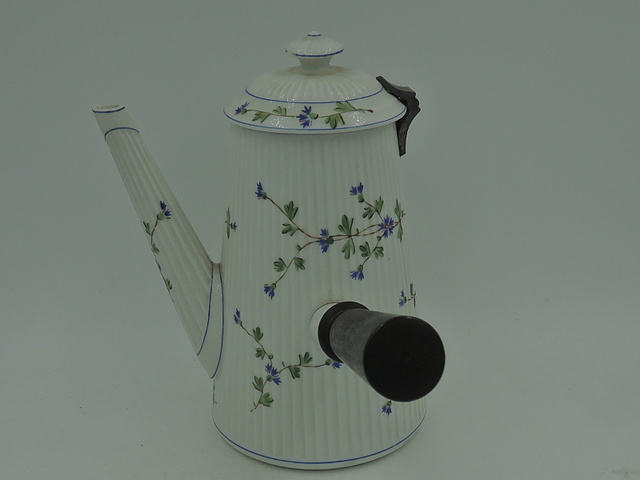 Vintage French China Coffee Pot w/Wood Side Handle Hot Chocolate