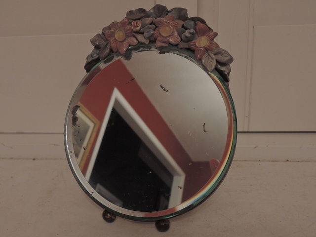 Antique Original Beveled Barbola Mirror Gesso Flowers Rare Small Size 6""