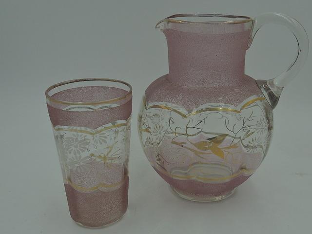 Vintage English Pink Sugar Glass Bedside Pitcher & Glass Set Handpainted