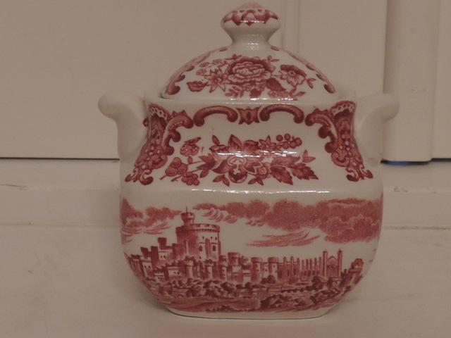 Vintage Wedgwood Royal Homes of Britain Red Transferware Sugar Cup/Bowl