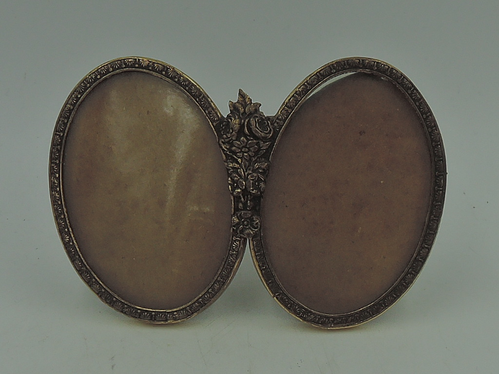 "Vintage French Gilt Ormolu Brass Double Photo Frame Picture 2 1/2"" x 1 3/4"""
