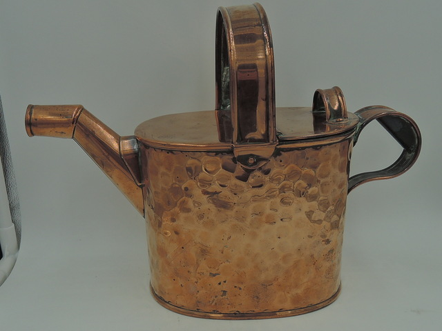 English Wolverhampton Hammered Copper Hot Water Watering Can