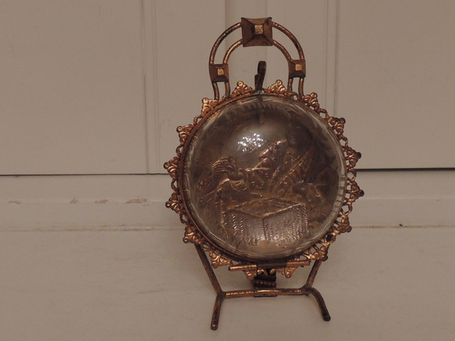 Gorgeous 19th C. French Ormolu Pocket Watch Holder Antique Casket Etched Glass