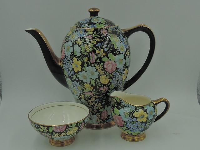 Vintage Empire Chintz Black Marguerite Coffee Pot/Teapot Creamer Sugar Cup Tea Set