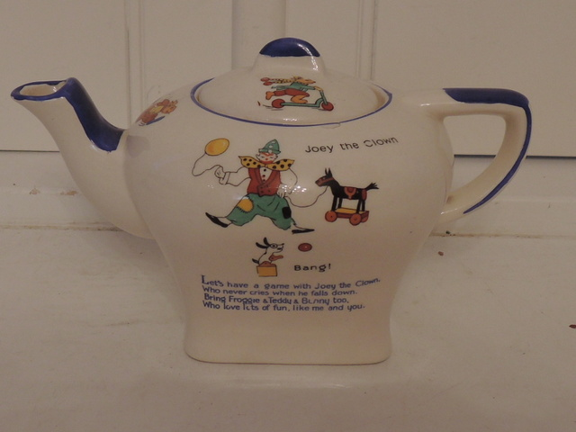 Darling Vintage English Corona Child's Teapot Clown Bunny Duck Toy Horse