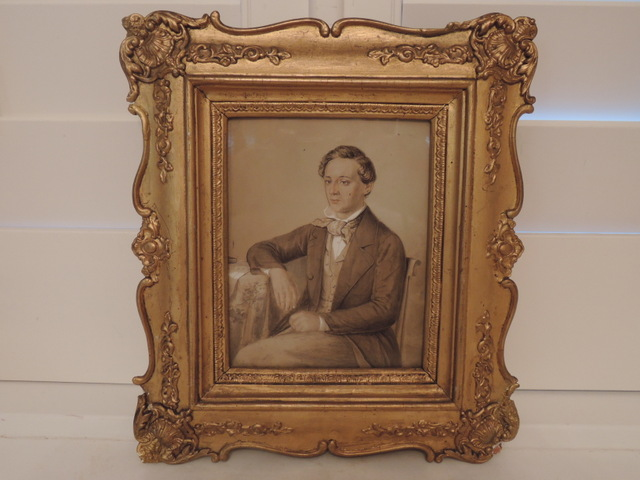 Antique English Gilt Framed Male Portrait Watercolor 1852 Martyn Stapylton Painting