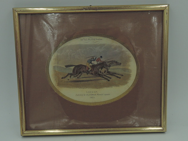 Antique Hand Colored Engraving Horse Hunting M.A. Pittman Print 1835 Framed
