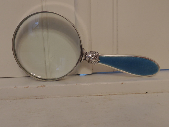 Large Antique Sterling Silver & Blue Enamel Guilloche Handle Magnifying Glass 1930