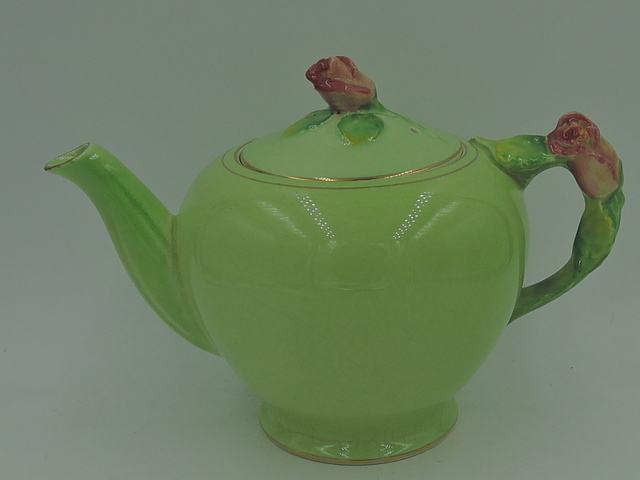 Vintage Royal Winton Green Rosebud Teapot Rose Bud Tea for One