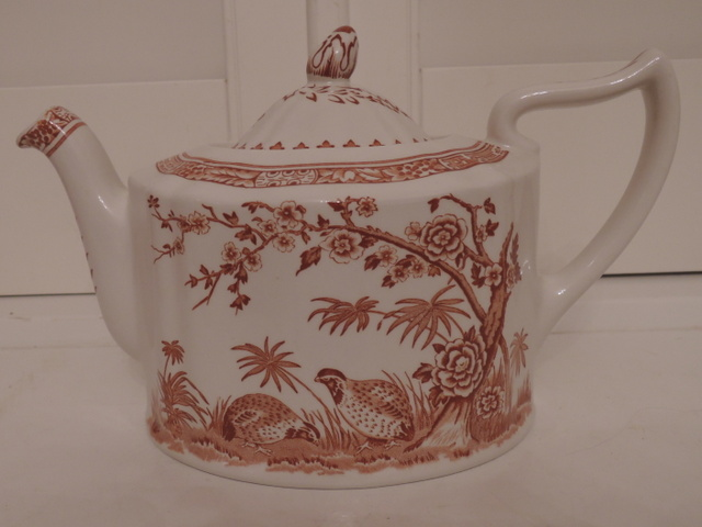 Vintage Masons Ironstone Brown Transferware Quail Teapot