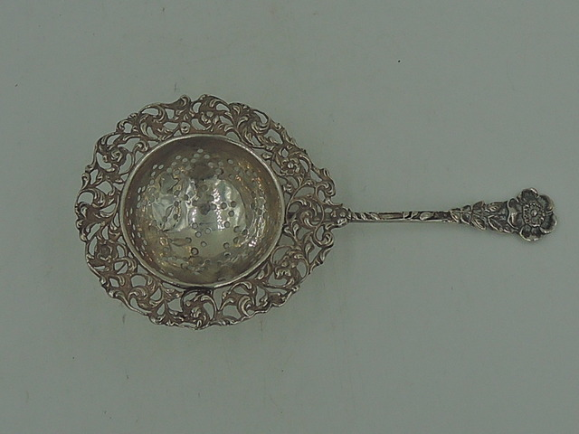 Antique Ornate Dutch Silver Reticulated Tea Strainer