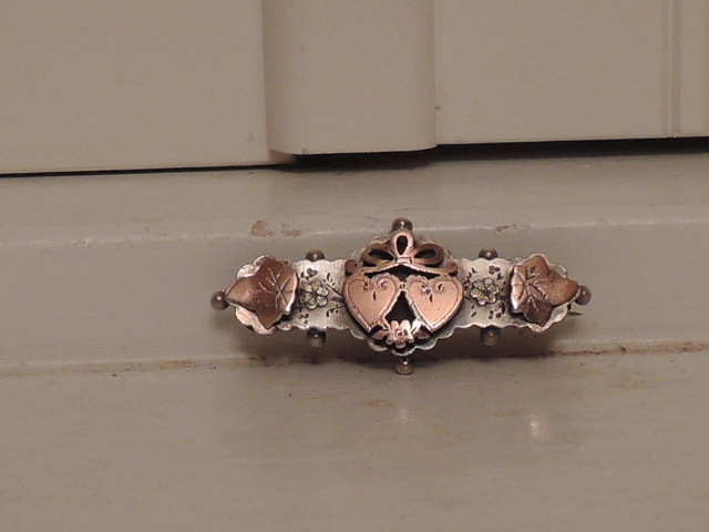 Antique English Sterling Silver & Rose Gold w/Hearts Ladies Brooch Pin Valentine's