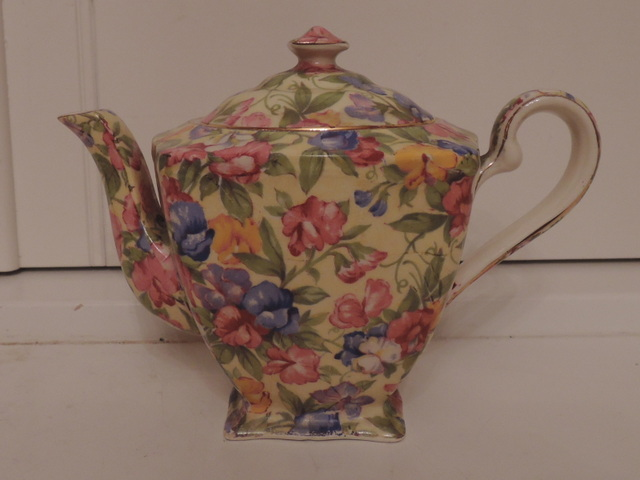 Vintage Royal Winton Chintz Sweet Pea Teapot Tea For One