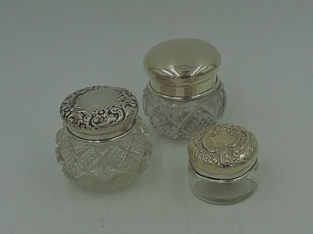 Set of 3 Sterling Silver Lids & Cut Glass Ladies Vanity Jars