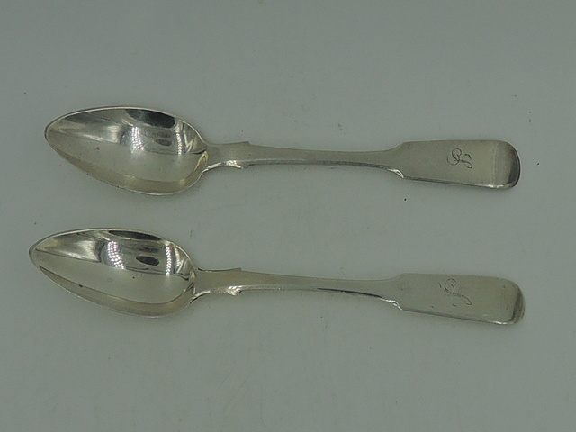Pair of Antique Sterling Silver Spoons Monogram L Exeter 1825 Fiddle Pattern