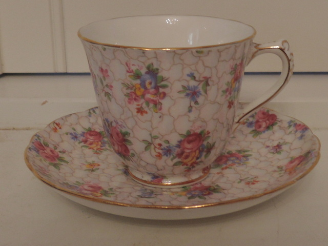 Vintage Hammersley Chintz Petite Cup & Saucer Pink Roses