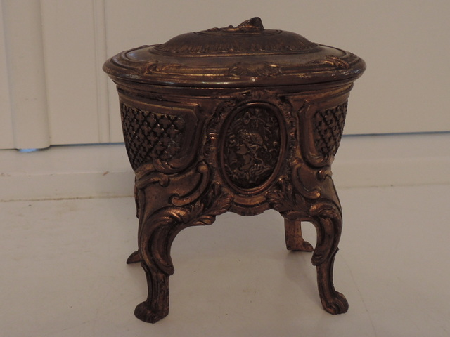 Antique French Bronze Depose Jewelry Box Casket 19th C.