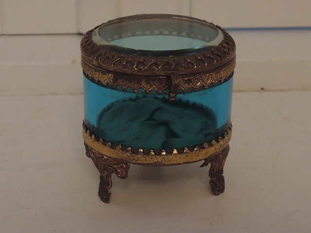 Antique French Gilt Ormolu Blue Glass Ring Box Jewelry Casket Hearts