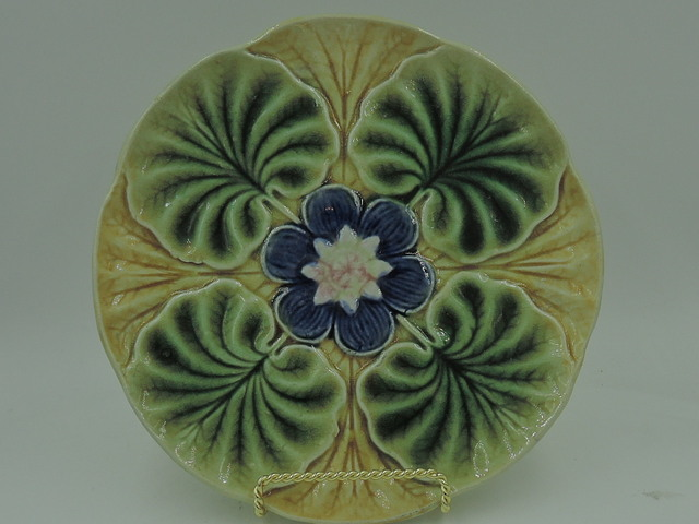 """Antique Majolica Water Lily Flower Pad Pond 8"""" Plate Gorgeous!"""