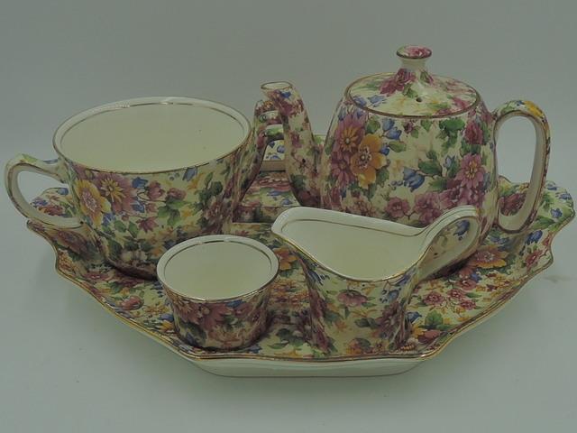 Vintage Royal Winton Chintz Cheadle Breakfast Set Teapot Tea for One 1950's