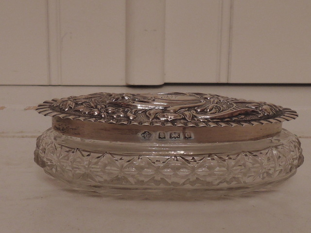 Antique English Repousse Sterling Silver Lid & Star Base Cut Glass Oval Ladies Vanity Jar
