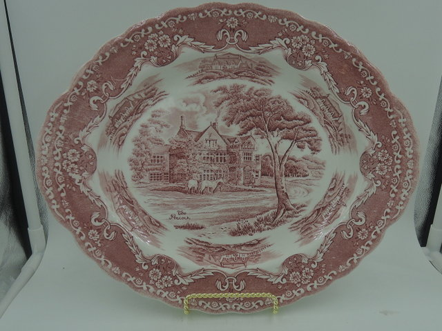 "Vintage Grindley English Country Inns The Peacock Red Transferware 12"" Platter"