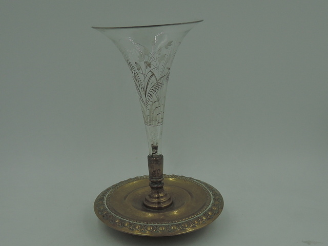 French Cut Etched Glass & Brass/Bronze Base Trumpet Vase