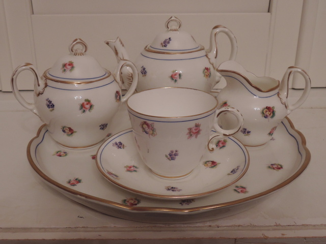 Antique Copeland Spode Breakfast Tea Set C. 1860-1875 Roses Pansies Teapot