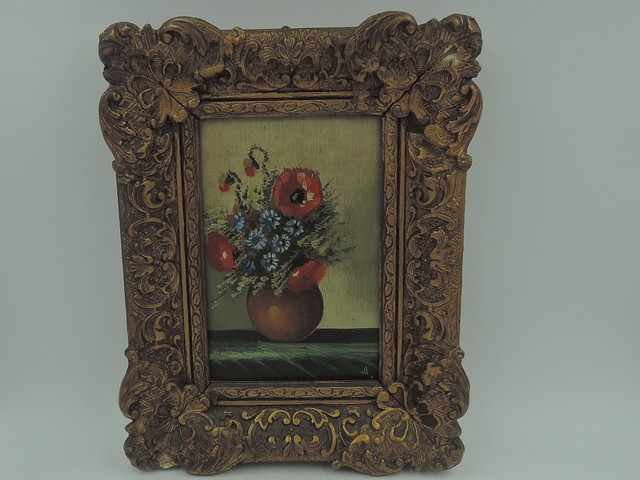 Small French Oil on Board Still Life Painting Poppies Ornate Gilt Frame