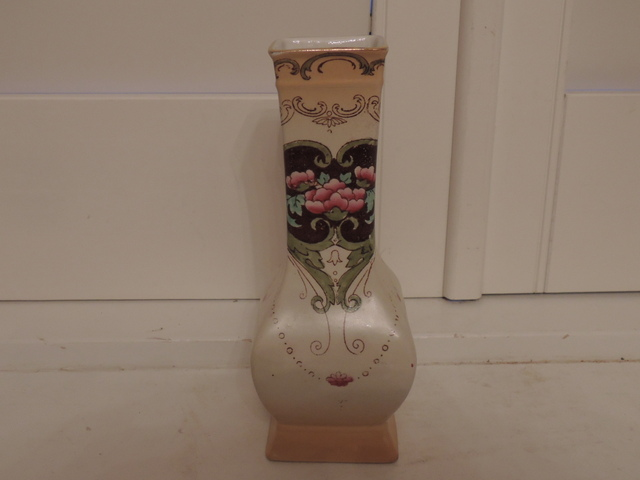 Antique Shelley Vase with Pink Roses C. 1910-1918 Rare!