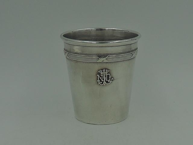 Vintage French Silver 925 Beaker Julep Cup Crown Monogram ND