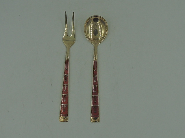 Kristian Hestenes Norway Sterling 925 & Enamel Cocktail Spoon & Fork Gold Wash