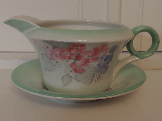 Large Vintage Shelley Green Phlox Pitcher/Gravy Boat & Stand Rare!