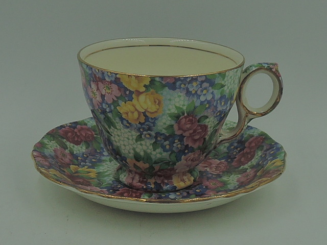 Vintage Royal Winton Chintz Julia Cup & Saucer Raleigh Shape Teacup