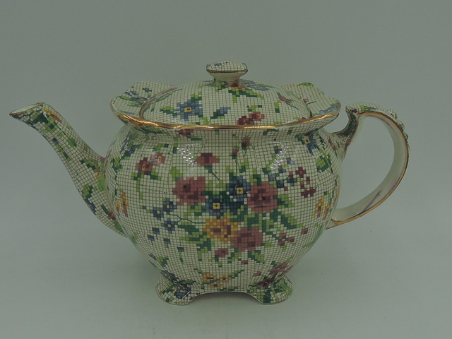 Rare! Vintage Royal Winton Chintz Queen Anne Athena Teapot