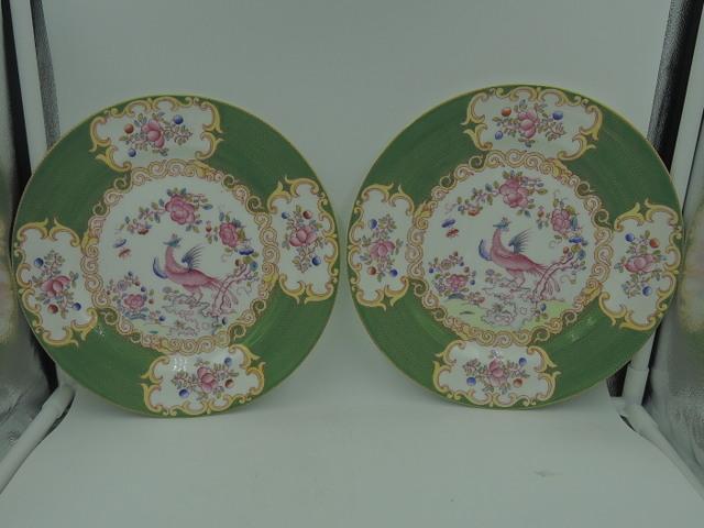 "Vintage Pair of Minton Green Cockatrice 9"" Dinner Plates Bone China"